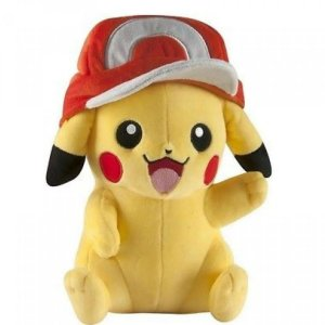 Pelúcia Pokémon Pikachu com Boné do Ash Grande Tomy