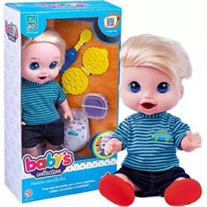 Boneco Baby's Collection Comidinha Menino - Supertoys