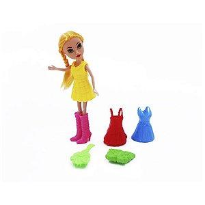 Boneca Fashion Troca Roupa De Plástico Com Acessórios
