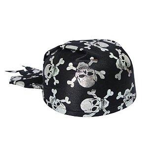 Chapéu Coquinho Pirata Preto e Prata