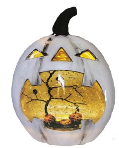 Enfeite Abóbora C/agua Luz E Glitter Halloween
