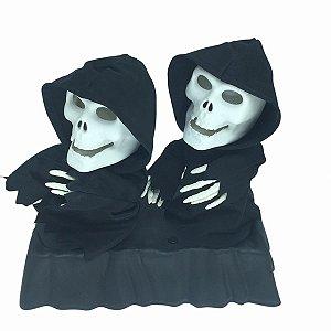 Enfeite Caveira Skull Canta Dança Decoração Halloween