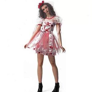 Fantasia Halloween Adulto Noiva Zumbi
