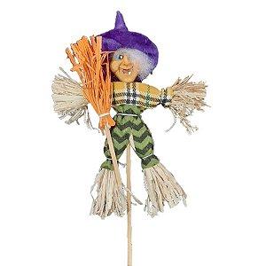Decoração Halloween Espantalho Bruxinha