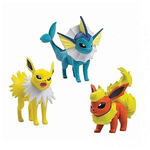 Boneco Pokémon - Jolteon, Vaporeon E Flareon - Sunny
