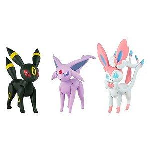 Boneco Pokémon - Umbreon, Sylveon E Espeon - Sunny
