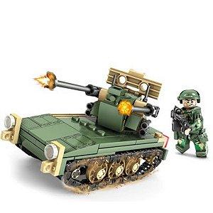 Bloco De Montar Tanque De Guerra 124 Peças - Kazi