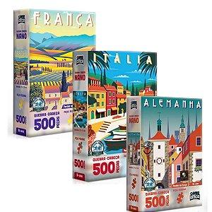 Kit 3 Quebra-cabeças Postais da Europa 500 peças cada