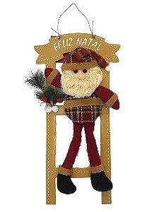 Enfeite de Porta Papai Noel na escada Feliz natal