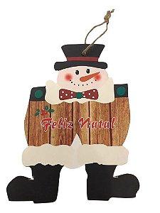 Enfeite de Porta para Natal Boneco de Neve Feliz Natal 18 cm