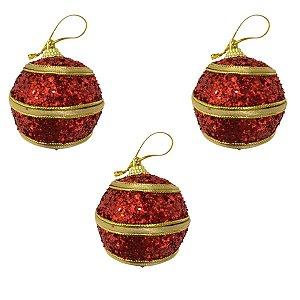 Kit Com 3 Bolas Vermelha e Dourada Decoradas 6cm