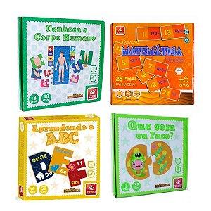 Kit com 4 Jogos Educativos de Madeira
