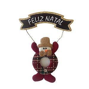 Enfeite de Porta para Natal Boneco de Neve Feliz Natal 24 cm