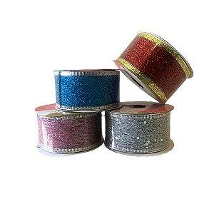 Fita Decorativa De Natal Tela Glitter 3,8cm