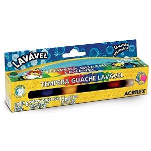 Tempera Guache Lavável Acrilex com 06 Cores