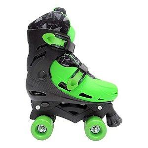 Patins Roller Masculino Ajustável Verde E Preto - Dm Toys 33/36