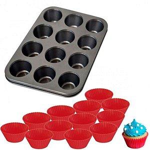Forma De Cupcakes c/12 Silicone - Em Casa Tem
