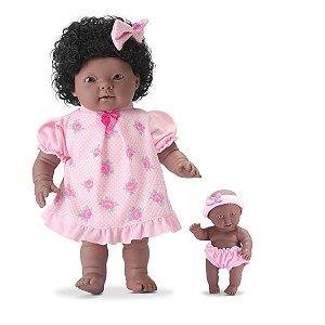 Bonecas Family Me Mãe e Filha Negra C/ Mamadeira-Bee Toys