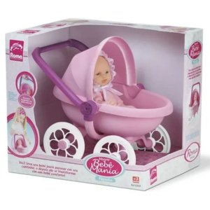 Boneca Micro Bebê Mania Carrinho De Bebê - Roma