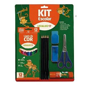 Kit Escolar Com 20 Peças Azul- Leo & Leo