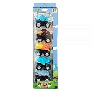 Kit Com 05 Carrinhos Animais Divertidos - Dm Toys