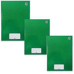 Kit C/3 Caderno Brochura Universitário 96 folhas Verde - 3B
