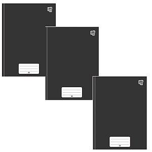 Kit C/3 Caderno Brochura Universitário 96 Folhas Preto - 3B