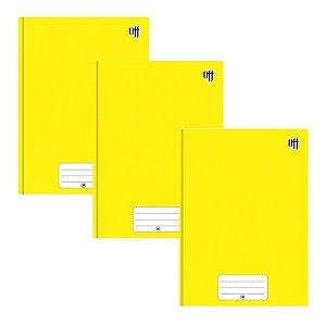 Kit C/3 Caderno Brochura Universitário 96 Folhas Amarelo - 3B