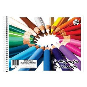 Caderno Cartografia E Desenho 96 Folhas Capa Flexível