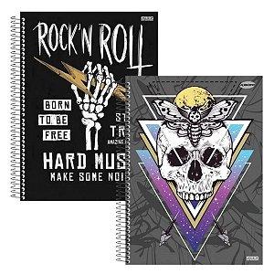Kit Com 2 Cadernos Universitário Rock Espiral 96 Folhas - São Domingos