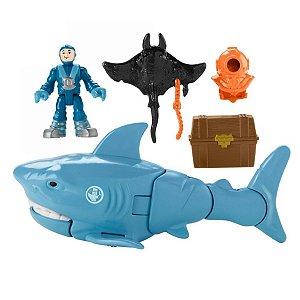 Boneco Com Tubarão Tesouro Afundado Imaginext - Mattel