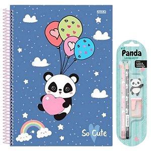 Kit Escolar Panda Com Apontador Lápis E Borracha