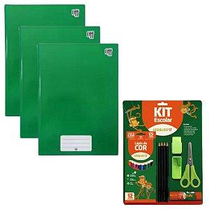 Super Kit Escolar Verde Com Caderno Lápis Borracha Apontador Tesoura...