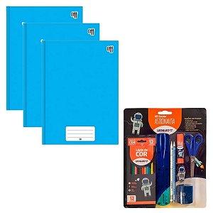 Super Kit Escolar Azul Com Caderno Lápis Tesoura Borracha...