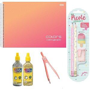 Super Kit Caderno De Desenho, Lápis, Borracha