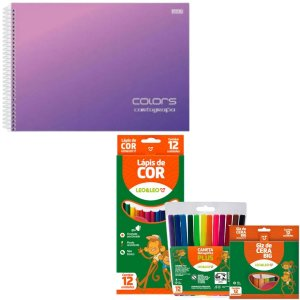 Kit Escolar Caderno Desenho, Lápis de Cor, Giz De Cera e Canetinhas
