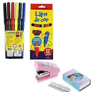 Kit Escolar Mini Grampeador, Lápis, Canetinha