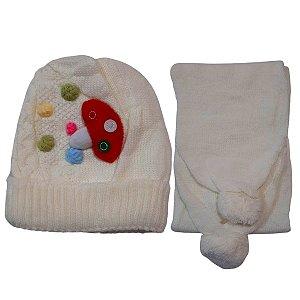 Kit De Inverno Infantil Com Touca E Cachecol Branco