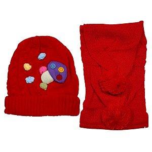Kit De Inverno Infantil Com Touca E Cachecol Vermelho