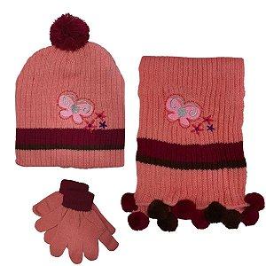 Kit De Inverno Infantil Com Touca E Cachecol Borboletas Rosa
