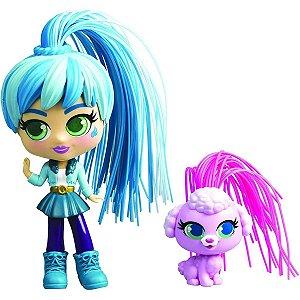 Boneca Curli Girls e Mascote Jet Setter - Rosita