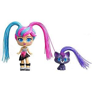 Boneca Curli Girls e Mascote Fashionista - Rosita