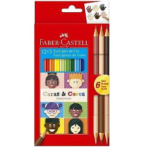 Lápis De Cor Ecolápis Caras & Cores 12 Cores + 6 Tons de Pele - Faber-Castell
