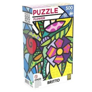 Quebra-cabeça - 500 Peças - Romero Brito - Flower - Grow