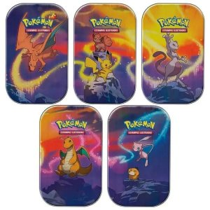 Super kit com 5 Mini Latas Poderes De Kanto Copag Pokemon