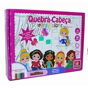Quebra-cabeça Gigante Para Colorir Princesas Em Madeira