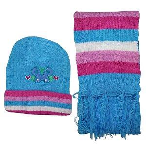 Kit De Inverno Infantil Com Touca E Cachecol Borboletas Azul