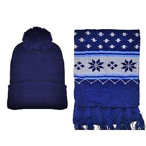Kit De Inverno Infantil Com Touca E Cachecol Azul Escuro