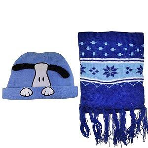 Kit De Inverno Infantil Com Touca Cachorrinho E Cachecol