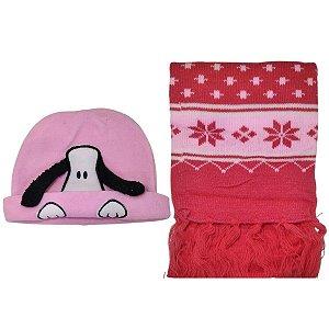 Kit De Inverno Infantil Com Touca Cachorrinho E Cachecol Rosa
